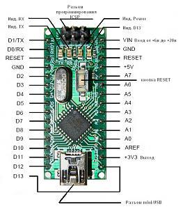 Нажмите на изображение для увеличения.  Название:Nano_v3_pins.jpg Просмотров:43081 Размер:80.8 Кб ID:5671